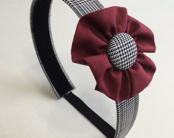 """School Uniform Headband with Flower and Button Detail (Upcycled)- The """"Sophie"""" Standard AS SHOWN"""