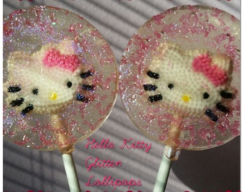 Hello Kitty Glitter lollipops favors set of 12