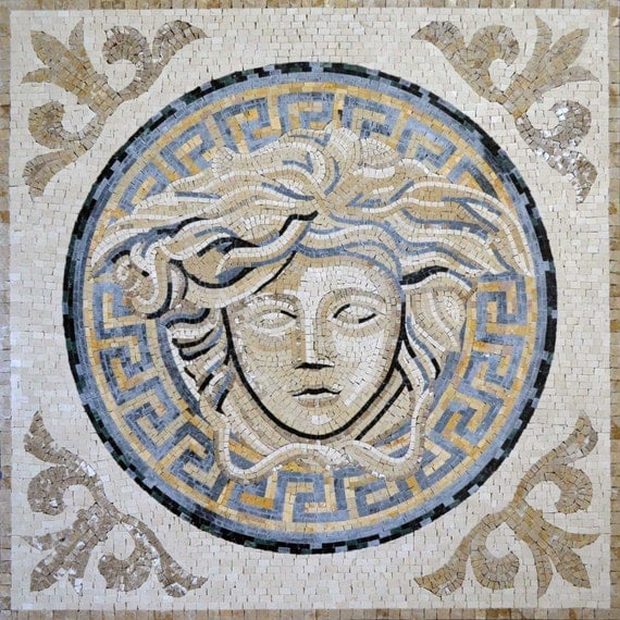 Versace marble mosaic design art tile pattern for floors for Carrelage versace