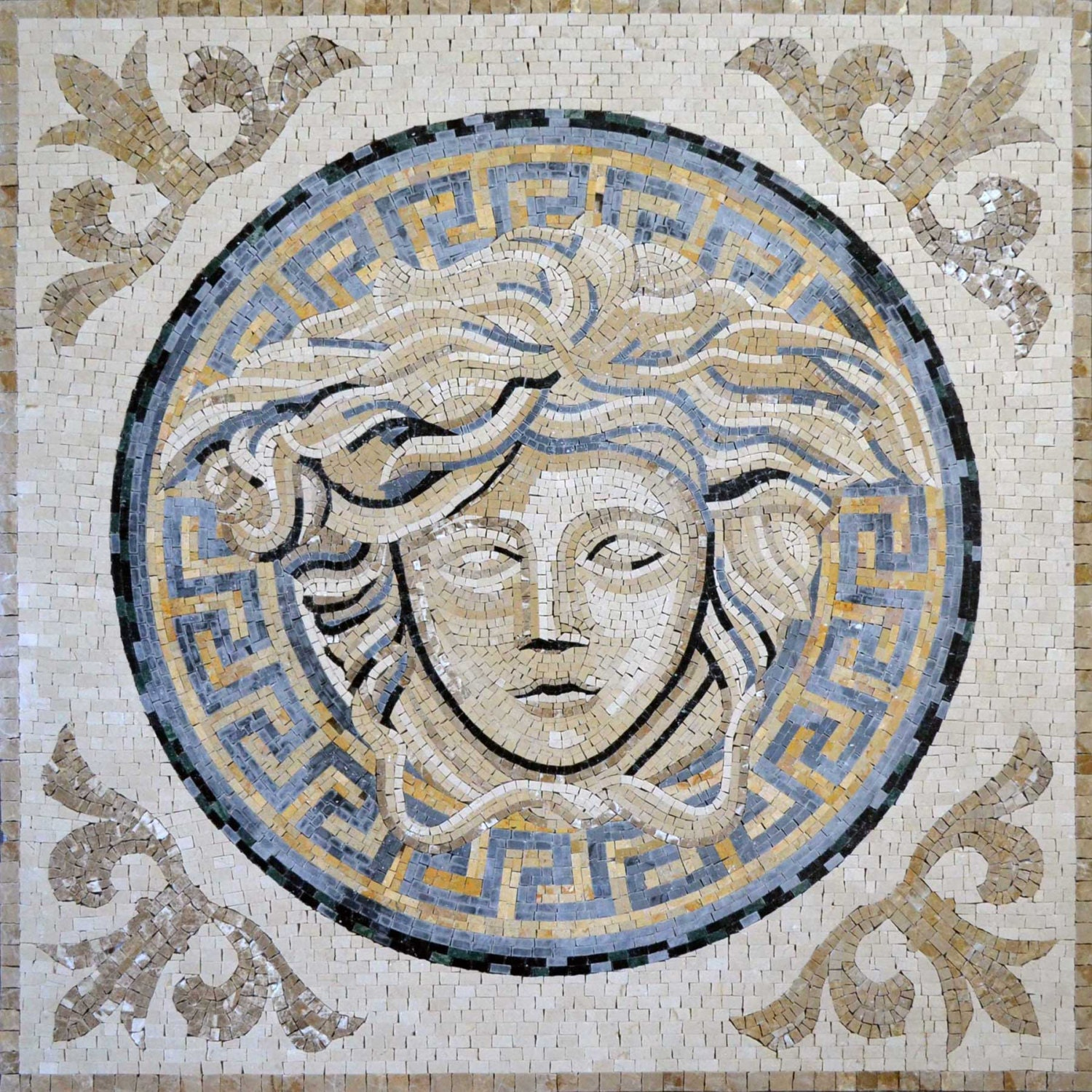 Versace marble mosaic design art tile pattern for floors for Versace pool design