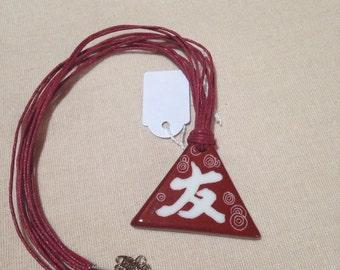 Kanji Friendship pendant, porcelain, hand painted.