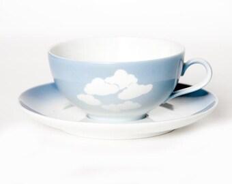 Vintage Mid Century Cup, Coffee, Tea, Cappuccino. Blue, Grey, Clouds, Fifties German Seltmann Weiden Bavaria West Germany Porcelain