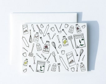 Cooking Card, Utensils Card, Foodie Card, Blank Kitchen Card, Card for Cooks, Card for Chef, Card for Chefs