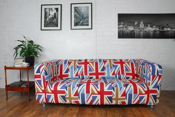 housse de canap ikea klippan en tissu de coton multicolore. Black Bedroom Furniture Sets. Home Design Ideas