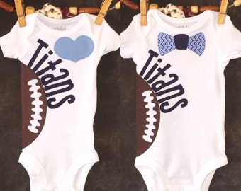 Personalized Heart OR Bow Tie Tennessee Titans Team Football Bodysuit