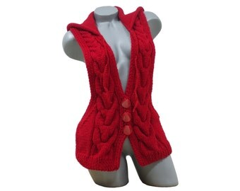 Knitted red hooded vest, Cable knit cardigan, Sleeveless sweater for women, Women's knitwear, Hand crochet woolen hoodie