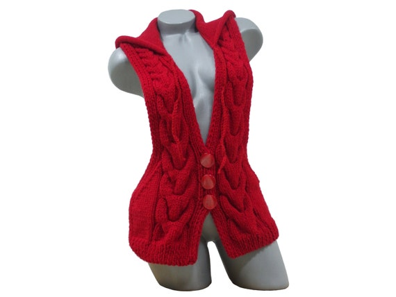 Knitted red hooded vest Cable knit cardigan Sleeveless