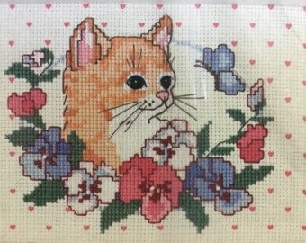 Vintage 1990 Dimensions 6593 No Count Cross Stitch Kit - Kitten In Pansies 7 x 5