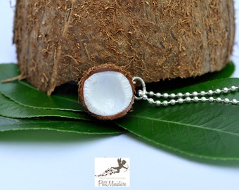 Jewel coconut Miniature Food Jewelry Necklace Fimo Charms Handmade Coconut