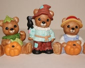 Homco Teddy Bear Figurines Halloween Scarecrow Pumpkin 1994 Set of 3 Vintage Home Interior Decor Collectible Brown Bear