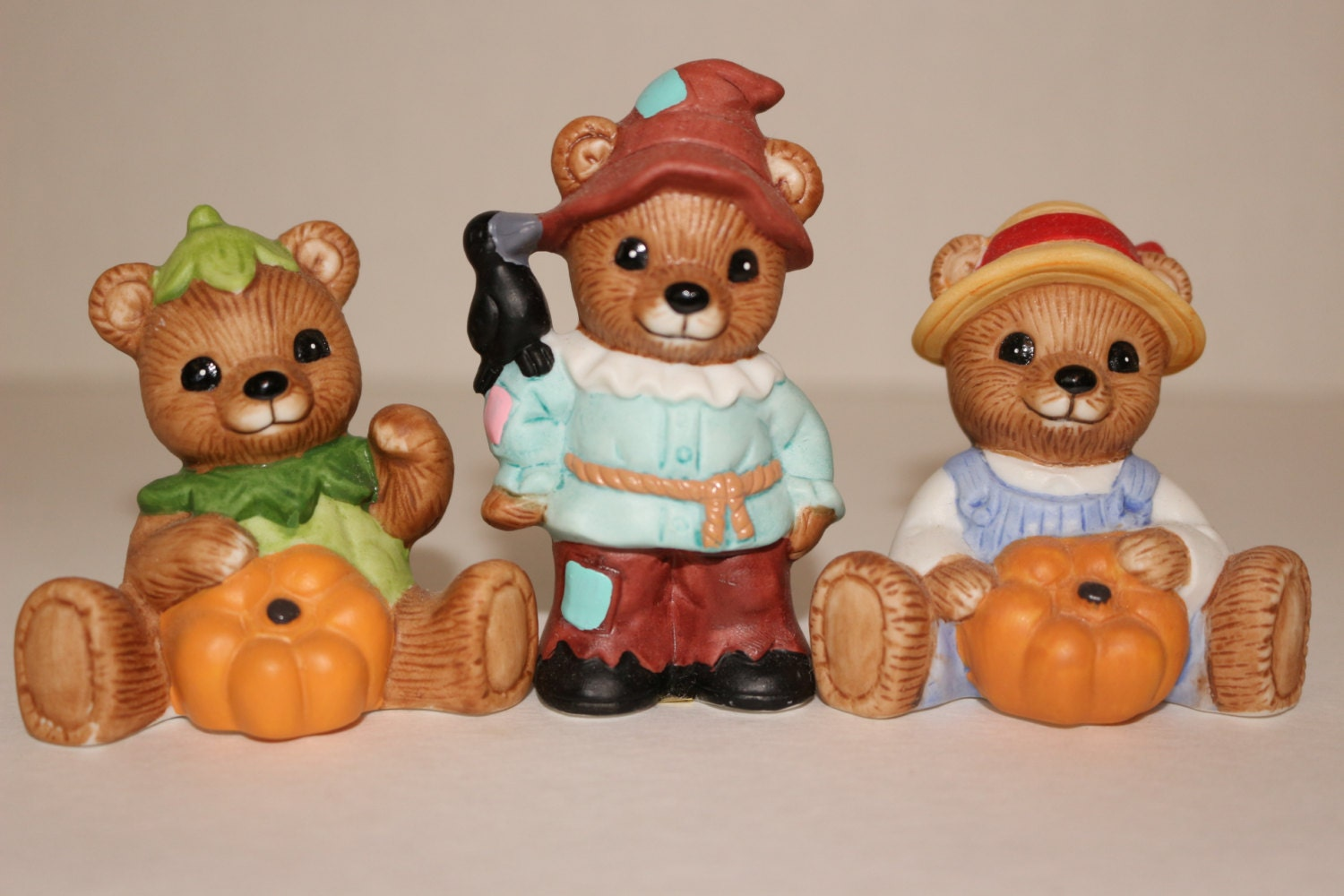 Homco Teddy Bear Figurines Halloween Scarecrow Pumpkin 1994