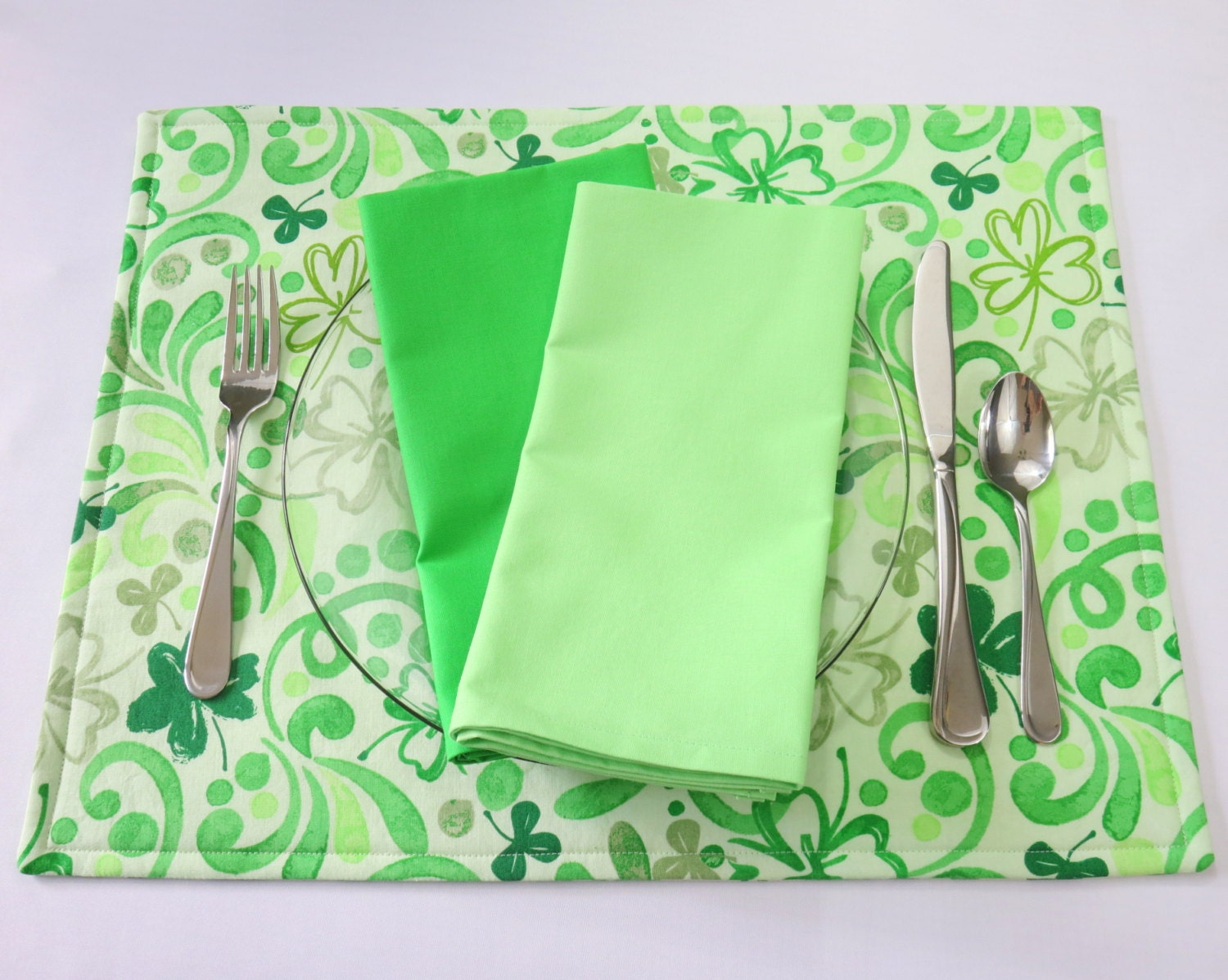 Green Floral Placemats St Patricks Placemats By