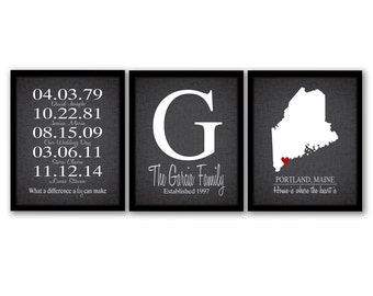State Family Sign, Family Name Art, Family Established Printable, Anniversary Gift For Wife, Family Map, Dates to Remember, Printable Art