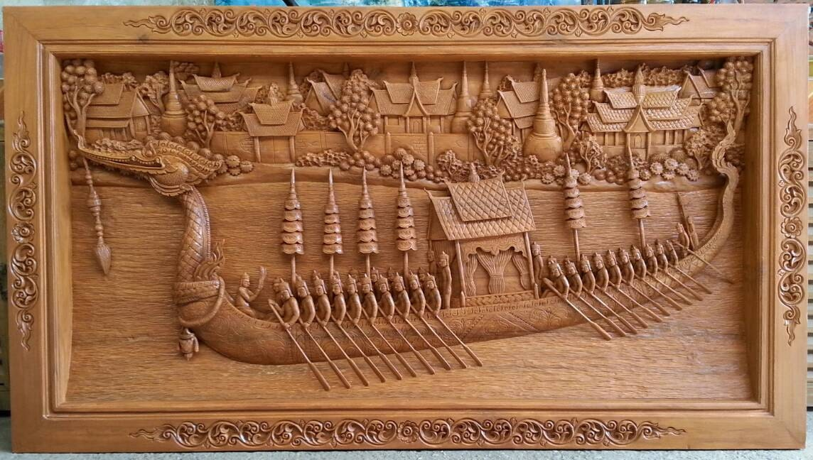 Large Carved Teak Wood Wall Art Decor 3d Panel With Beautiful