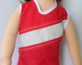 Cheerleader Outfit Journey Girl Doll, Red and White Cheerleader outfit for 18 in Journey Girl Doll, JG Cheerleading Outfit