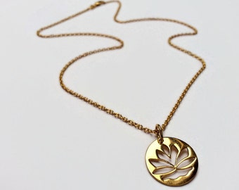 Gold Lotus Necklace. Gold vermeil, gold plated sterling silver lotus flower necklace. Yoga gift idea. UK seller