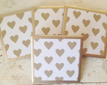 COASTERS!!! Set of four golden heart coasters with gold trim