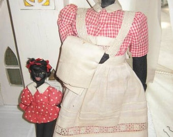 Rare Antique Black Rag Doll Mother and Daughter