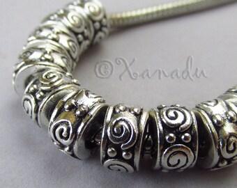 Wholesale European Spacer Beads - 10/20/50 Large Hole Charm Beads For European Bracelets EB0742
