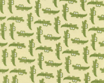Alligator Fabric - Crocodiles in Green by Timeless Treasures - 1/2 Yard