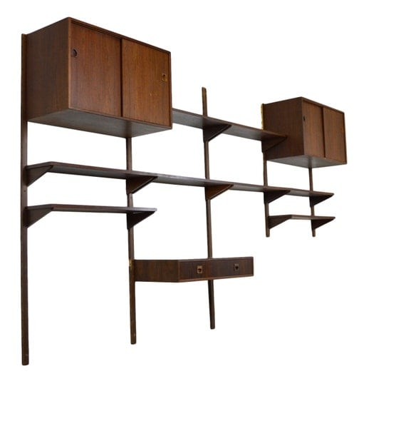 mid century danish modern rosewood shelving unit by. Black Bedroom Furniture Sets. Home Design Ideas