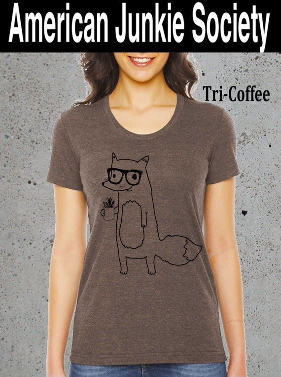 Womens coffee junkie foxfox shirtbest selling by for Selling shirts on etsy