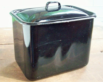 Vintage Enamelware / Square Black Container with lid / Lightweight / Charming useful antique / Black