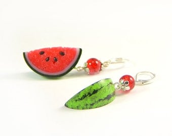Watermelon Earrings - Polymer clay jewelry - Red fruit earrings - Juicy jewellery