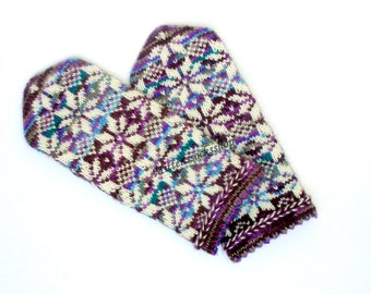 Purple Blue Brown White Hand Knitted Wool Mittens Purple Blue Brown White Hand Knitted Wool Gloves Patterned Latvian Mittens Winter Mittens