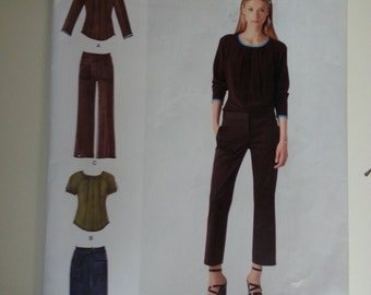 Cropped pants /peasant / boho /short sleeve shirt/casual tops 2012 sewing Pattern, Sizes 4 6 8 10 12, Bust 29 30 31 32 34, Simplicity 1783