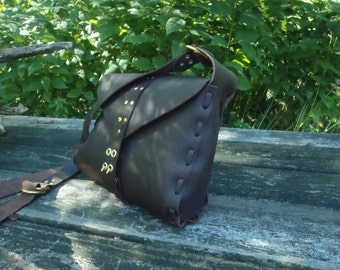 CSherwoodLeather Brown Messenger Handbag, Saddle Bag, Mail Bag, Brown Leather Purse,  Military Mail Bag with solid Brass two prong clasp.