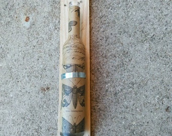 Butterfly Decoupaged Bottle Wall Decor Reclaimed Wood