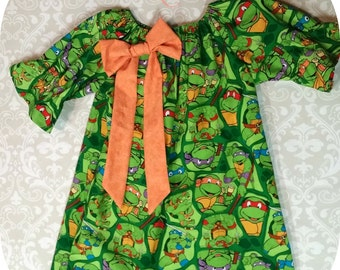 TMNT Dress with optional bow color