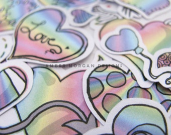 Pastel Rainbow Heart Stickers, Paper Stickers, Journaling, Sticker Flakes, Cute hearts, Love Stickers, Stationery, Scrapbooking, Rainbow