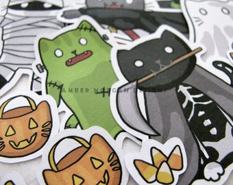 Halloween Stickers, Paper Stickers, Journaling, Sticker Flakes, Stationery, Scrapbooking, Cat Mummy, Cat Witch, Cat Vampire, Cat Pumpkin