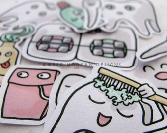 Cute Tooth Stickers, Paper Stickers, Journaling, Sticker Flakes, Stationery, Scrapbooking, Funny Teeth, Dentist, Braces, Orthodontist, Floss