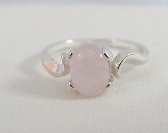 Rose Quartz Ring in Sterling Silver, 8x6 Rose Quartz Gemstone, Rose Quartz Jewelry, Pink Ring