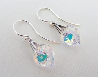 Crystal Heart Earrings in Sterling Silver, Swarovski Crystal Hearts, April Birthstone Earrings, Heart Earrings, Crystal Jewelry