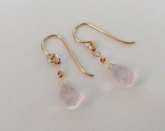 Rose Quartz Earrings,14K Gold Filled Earrings, Rose Quartz Briolettes, Rose Quartz Gemstone Jewelry, Pink Wedding Jewelry, Bride Earrings