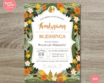 Thanksgiving Invitation // 5x7 Rustic Thanksgiving Printable Invitation - Thanksgiving Dinner Party - Fall Harvest Invitation Autumn