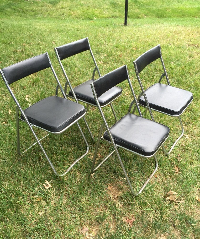 NEVCO Vintage Mid Century Black and Chrome Set of 4 Folding Chairs