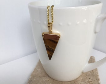 Gold Dipped Triangle Tiger Eye Pendant Necklace