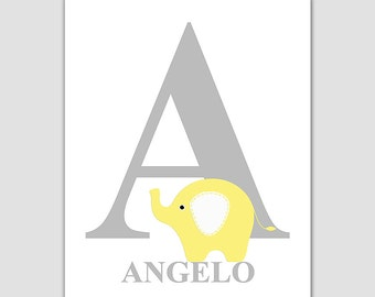 Yellow and grey Baby boy initial wall art print -UNFRAMED- baby boy nursery art, monogram, Angelo, letter A, initial artwork, baby name
