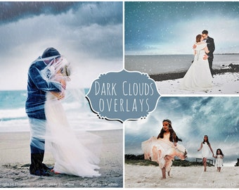 Rain Clouds Photoshop Overlays: Heavy Dark Skies Photo Layer, Dark Overcast Sky Effect Backdrops for photographers, Dramatic Beautiful Storm