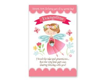 Fairy Thank You Card, Customized Printable DIY, Girl's Fairy Thank You