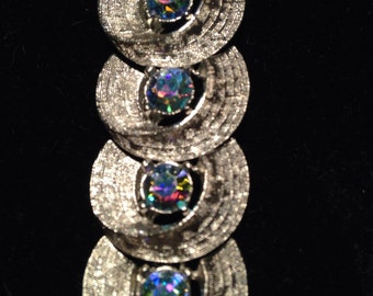 Beautiful Vintage Crescent Rhinestone Silvertone Bracelet