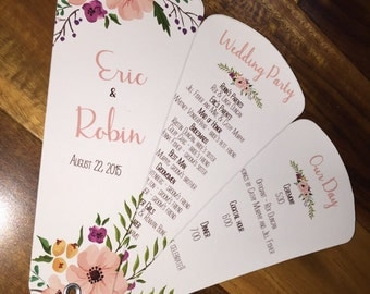 wedding program fans wedding program fan etsy 12386