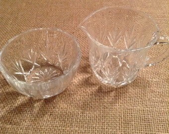 Vintage Crystal Cream and Sugar Set