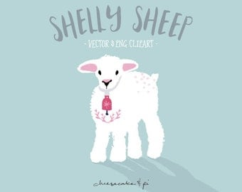 Clipart: whimsical sheep illustration / PNG clip art / commercial use / nursery art / children decor / poster / vector lamb / CM0061-sheep