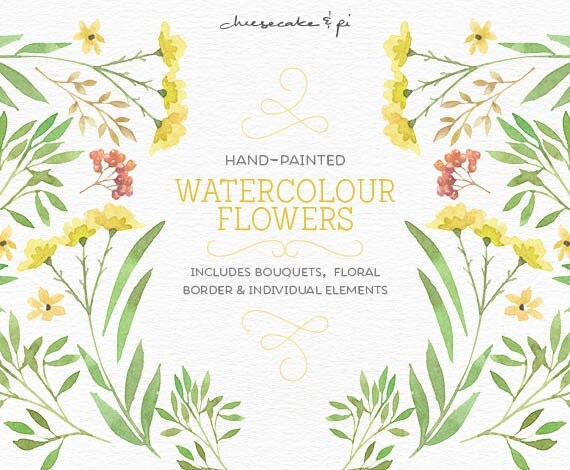 Watercolor Flowers PNG Floral Clipart Bouquets Wedding Invitation Clip Art Commercial Use Border Yellow Green CM0076h